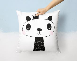 Panda throw pillow by Otto and Pixels-min