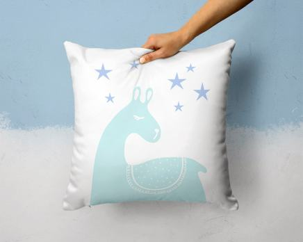 Scandinavian throw pillow with llama by Otto and Pixels